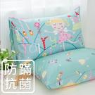 鴻宇 防蟎枕套2入 公主城堡綠 防蟎抗菌 美國棉授權品牌 台灣製1899