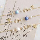 星星珠鋯石月亮水晶珍珠細款手錬