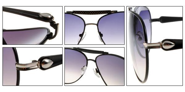 EJING太陽眼鏡 EJY207 C01 (黑色) 飛官式格紋率性墨鏡 # 金橘眼鏡
