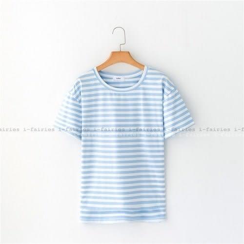 5天出貨★條紋棉質短袖T恤 上衣★ifairies【41667】