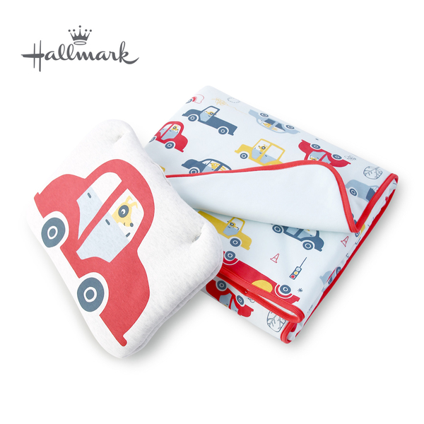 Hallmark Babies 動物汽車枕頭被子組 HH3-N03-L1-LB-MB
