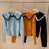 娃娃領上衣 加厚橘色套頭毛衣女外穿撞色花邊大翻領短款收腰娃娃領針織上衣潮 韓國時尚週