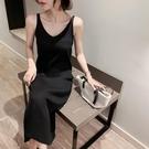 針織裙 2020春裝新款修身針織吊帶連衣裙女背心長裙中長款黑色內搭打底裙【全館免運】