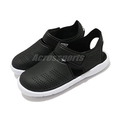 adidas 涼拖鞋 Fortaswim Stripes C 黑 白 童鞋 中童鞋 魔鬼氈 拖鞋 【ACS】 FW6048