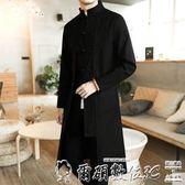 唐裝披風中國風男裝古風漢服中長款風衣男士唐裝披風棉麻道袍大衣外套 爾碩數位