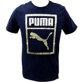 Puma Logo Box 流行系列 男 深藍 金 短袖 T恤 運動上衣 短T 休閒 反光 57643756