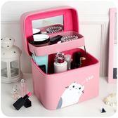 化妝包雙層大容量多層韓國手提可愛小號便攜簡約少女心收納箱盒品