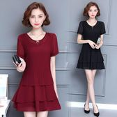 海外發貨不退換韓版洋裝1507夏裝新款韓版加肥加大尺碼女雪紡連衣裙寬松顯瘦短袖蛋糕裙(T456-A)