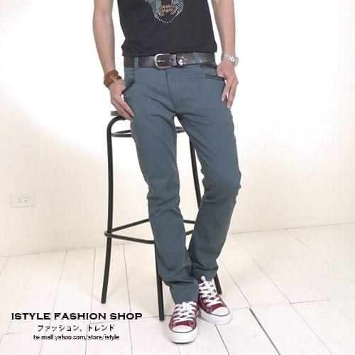 現貨出清不退不換,慎選-男款日本都會雅痞時尚彈性窄版滾皮造型設計男長褲【cd1363s】ibella