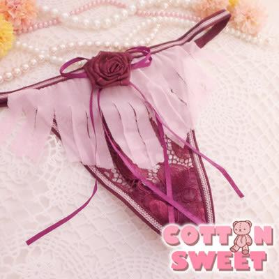 棉花甜 溫泉約會 立體玫瑰 網紗丁字褲(紫)