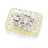 〔小禮堂〕Hello Kitty 日製造型貼紙組附盒《黃.拿旗子》40枚入.裝飾貼.黏貼用品 4901610-03744