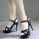 恨天高 夏季新品12cm超高跟性感交叉綁帶鏤空露趾涼鞋女防水臺細跟女鞋子