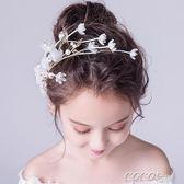 兒童頭飾 兒童髮飾女童公主髮夾髮箍唯美手工花童禮服配飾女孩頭箍兒童頭飾 新品