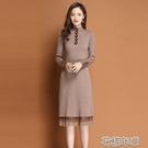 毛衣裙女士連身裙中長款打底衫秋冬新款加厚毛衣裙內搭過膝蕾絲裙子 快速出貨