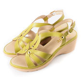 DeSire 百搭素面楔型涼鞋  -芥黃