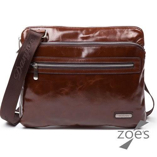 【Zoe s】頂級牛皮 商務系列 油蠟皮單肩斜跨包(品味棕)