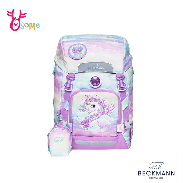 BECKMANN挪威護脊書包 兒童書包 女童背包 後背 減壓 矯正 機能 開學 出遊 22L-夢幻獨角獸3.0 BB042#粉紫