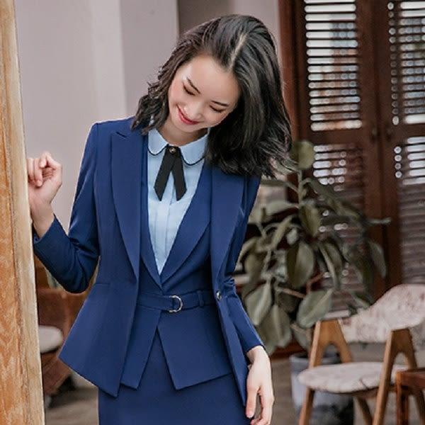 美之札[8S001-PF]中尺碼*單粒釦純色西裝領OL長袖西裝外套~上班/面試