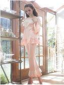 秋季新款奢華複古蕾絲公主粉色套裝棉質舒適高貴家居服睡衣-nig8005