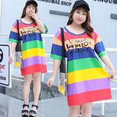 中大尺碼~彩色條紋時尚英文印花短袖洋裝(XL~4XL)