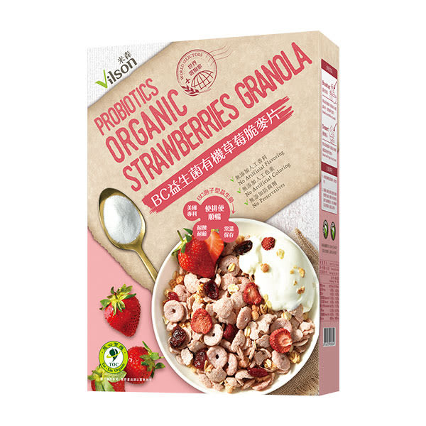 【米森 】BC益生菌有機草莓脆麥片 (300g/盒)