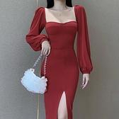 露肩洋裝 法式復古宮廷設計長袖洋裝歐美洋氣百搭氣質晚禮服 - 風尚3C