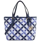 【南紡購物中心】MICHAEL KORS ISTANBUL滿版花紋手提斜背兩用包-藍