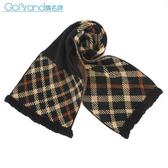 DAKS 經典格紋羊毛混織圍巾(黑/駝色)239333-1