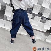 女童牛仔褲秋裝兒童褲子寶寶休閒背帶褲長褲春秋【淘夢屋】