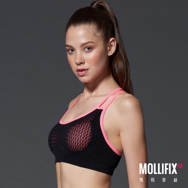 Mollifix瑪莉菲絲 高調A++動塑升級撞色運動BRA (好動黑)