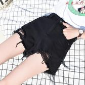 黑色牛仔短褲女夏韓版寬鬆高腰A字褲