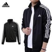 Adidas Essentials 男款 黑 運動外套 休閒 愛迪達 三線 立領 慢跑 溫暖 舒適 外套 BR1024