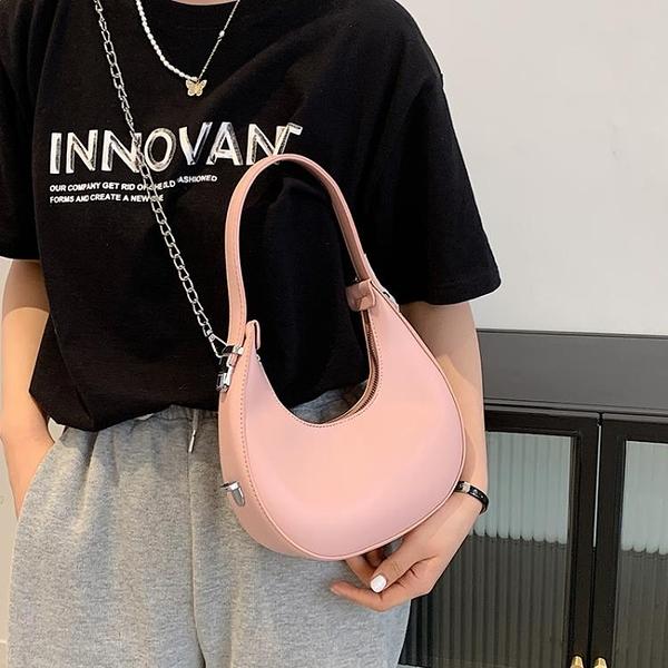 新月包 網紅小眾設計包包女夏2021新款潮時尚鏈條斜挎包高級感單肩新月包 夢藝家