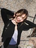 針織外套女春秋季黑色小開衫毛衣外搭冬圓領新款修身百搭短款上衣 都市時尚