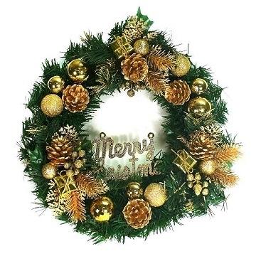 【南紡購物中心】【聖誕限定】14吋豪華高級綠色聖誕花圈(金色系)(台灣手工組裝)