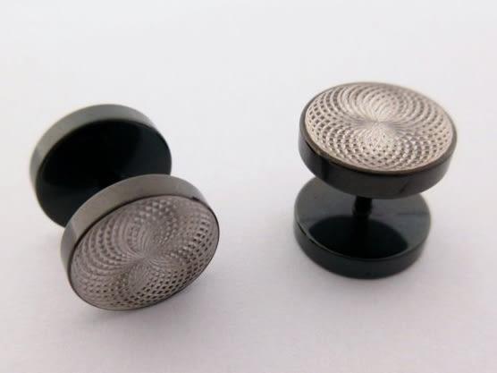☆§海洋盒子§☆變幻亮眼螺旋紋黑色雙圓形~螺旋針式白鋼耳環