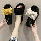 厚底拖鞋鬆糕厚底拖鞋女外穿仙女風21新款蝴蝶結防滑平底一字涼拖鞋子2月24日發 快速出貨