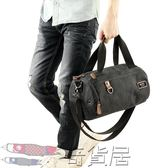 桶形帶鞋區 健身包帆布手提包運動男士背包單肩斜挎包短途旅行袋【奇貨居】