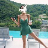 溫泉泳裝女保守小胸聚攏正韓小清新性感遮肚裙式連身游泳衣女