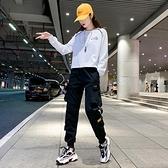 黑色工裝褲女秋季新款寬鬆bf顯瘦高腰休閒套裝潮小個子束腳運動褲 【夏日新品】