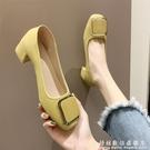 配裙子的法式仙女風單鞋女春款百搭網紅粗跟淺口奶奶鞋高跟鞋 科炫數位