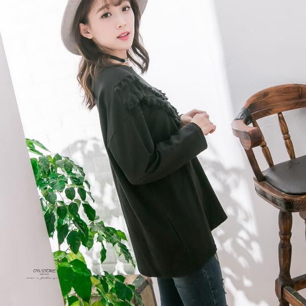 Korea- V型滾邊小流蘇設計素面上衣 - ONi STORE - 423107