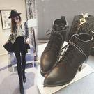 丁果、靴子35-39►韓版綁帶簡約高跟踝...