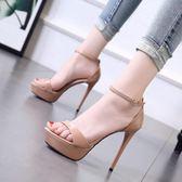 高跟鞋女細跟新款女涼鞋防水台超高跟12公分時尚露趾女鞋 露露日記