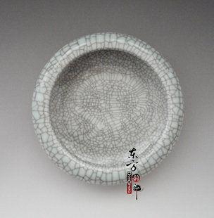 陶瓷筆洗水淺文房四寶禮品小魚缸灰色結晶釉