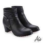 A.S.O 簡約風格 精緻質感真皮短靴 黑色