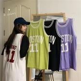 無袖T恤 背心女2020夏季ins韓版字母印花學生籃球服寬松休閑中長款無袖t恤 寶貝計書