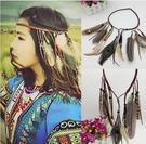得來福頭飾,H364波西米亞印地安民族風嘻皮流蘇孔雀羽毛麻花辮髮飾髮帶髮圈髮箍頭飾,售價180元