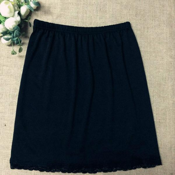 牛奶絲感蕾絲車邊包臀膝上襯裙(45cm)   [黑 白] 兩色售 MA160001