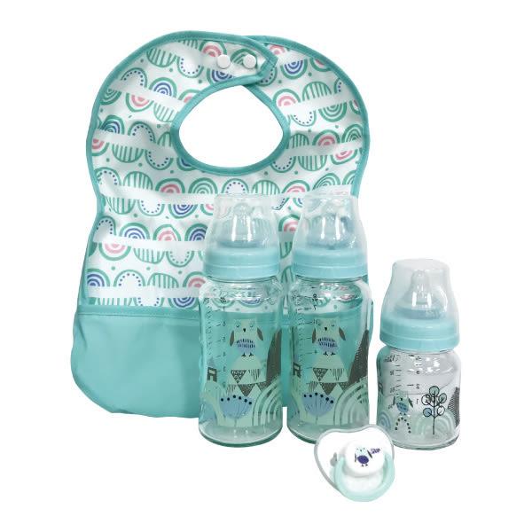 奇哥 PUP 貓頭鷹玻璃奶瓶禮盒/彌月禮(寬口徑) (附贈奇哥提袋)